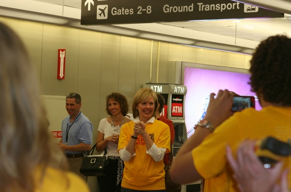 Ginger Hardage in a SouthWest Airline Terminal